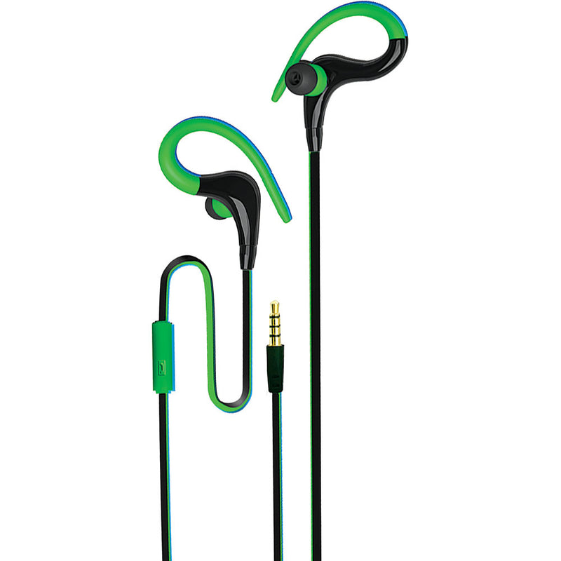 Coby Intense Secure Fit Stereo Earbuds with Mic, Green