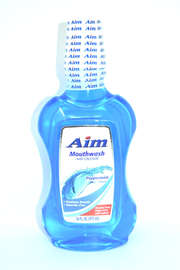 Aim Peppermint Flavor Mouthwash with Calcium, 16 oz