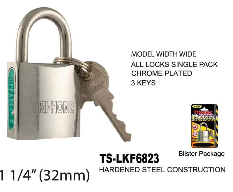 High Security Padlock With Keys, Chrome-Plated, 32 mm
