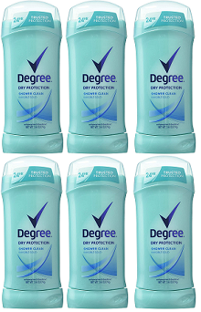 Degree Dry Protection Shower Clean Invisible Solid Deodorant, 2.6 oz (Pack of 6)