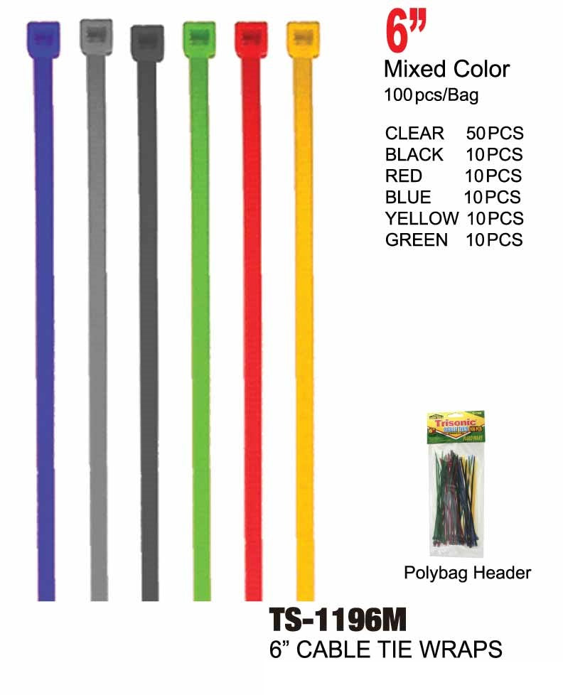 "6"" Multi-color Cable Ties, 100-ct."