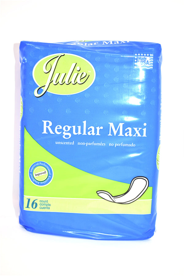 Julie Unscented Regular Maxi Pads, 16 ct.