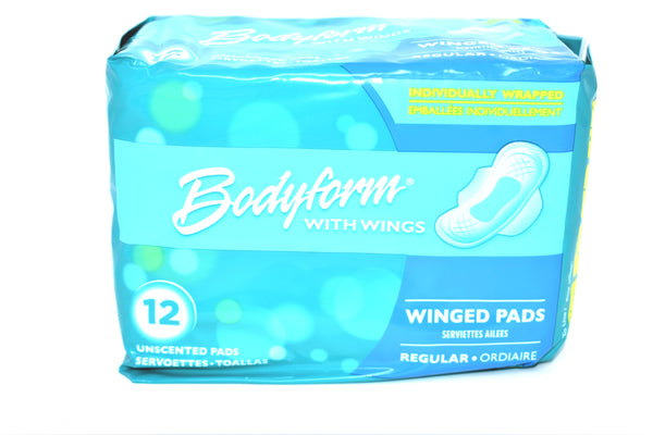 Bodyform Unscented Regular Winged Pads, 12 ct.