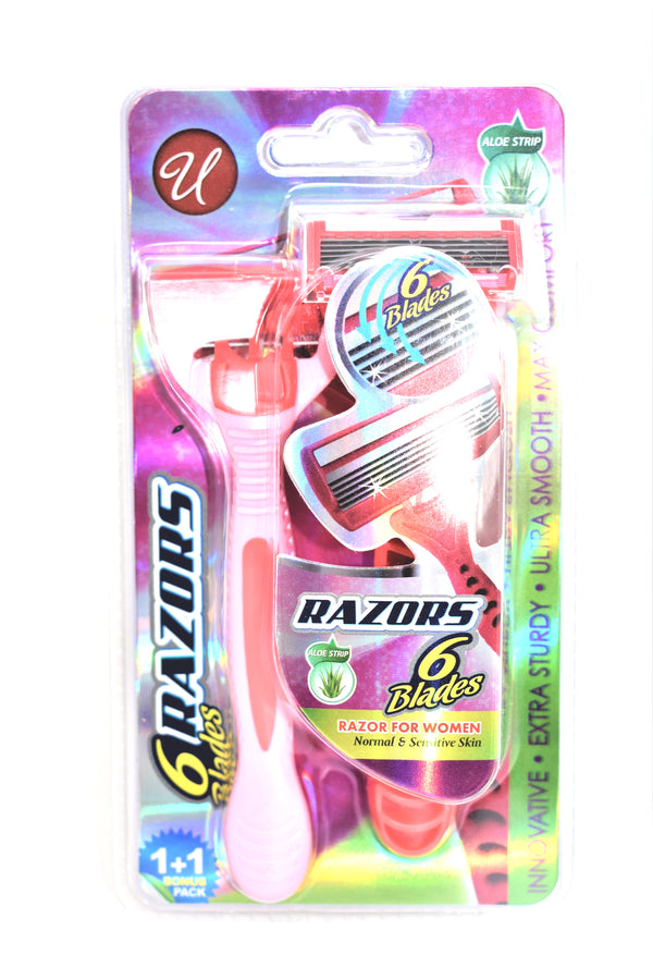 6 Blades Razors For Women, 2 ct.
