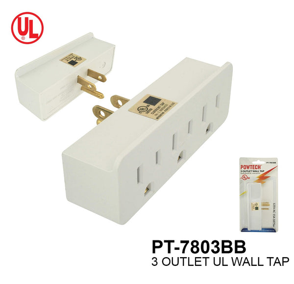 3 Outlet Wall Tap With Sensor Night Light