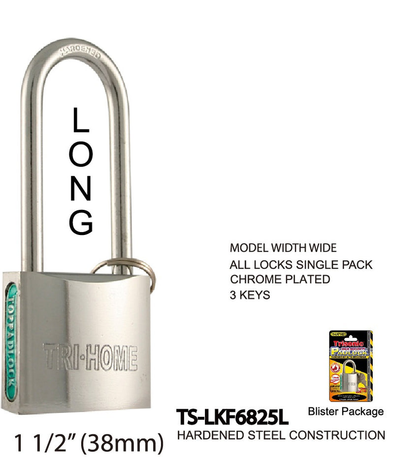 High Security Long Padlock With Keys, Chrome-Plated, 40 mm
