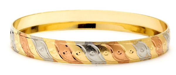 3 Tone Bangle 10 mm, Size-8