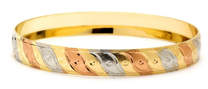 3 Tone Bangle 10 mm, Size-6