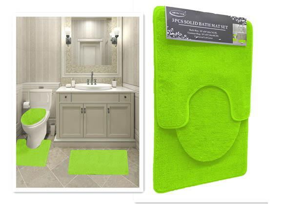 Lime Green Color 3PC Solid Bath Mat 7mm Pile