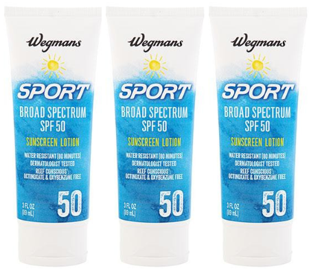Wegmans Sport Broad Spectrum SPF 50 Sunscreen Lotion 3 oz (EXP 6/20) (Pack of 3)