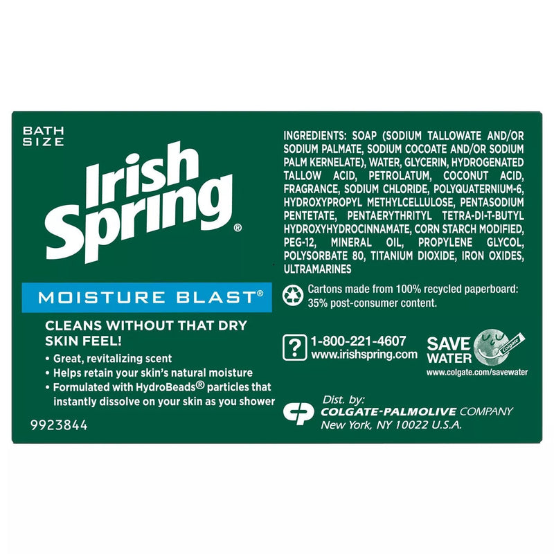 Irish Spring Moisture Blast Bar Soap, 12 ct. 44.4 oz.