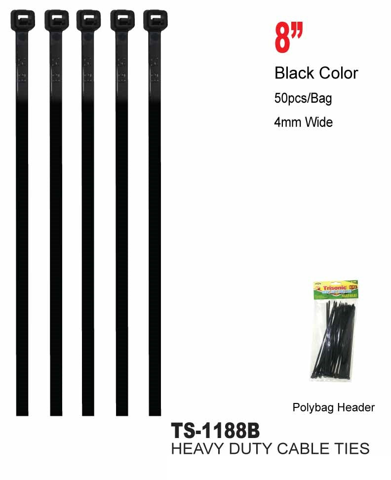 "8"" Heavy Duty Cable Ties, 40-ct."