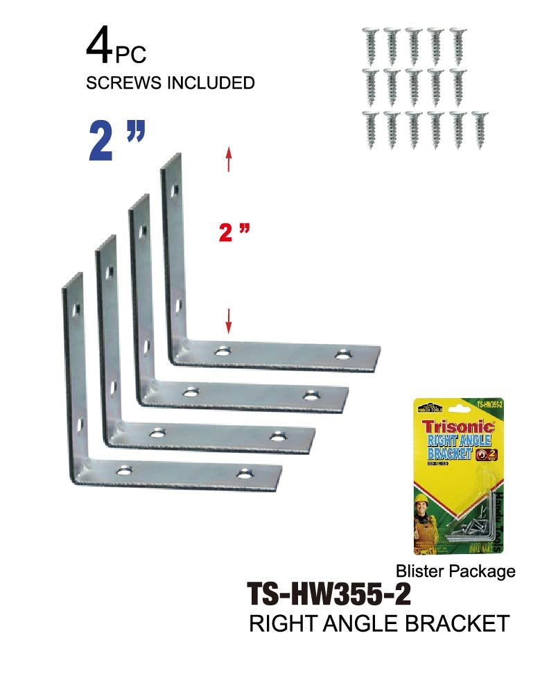 "2"" Right Angle Bracket, 4-ct."