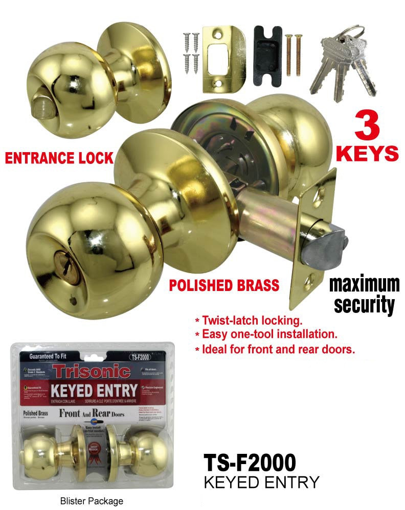 Passage Lock Door Knobs, Closet, Polished Brass, 1 Pair