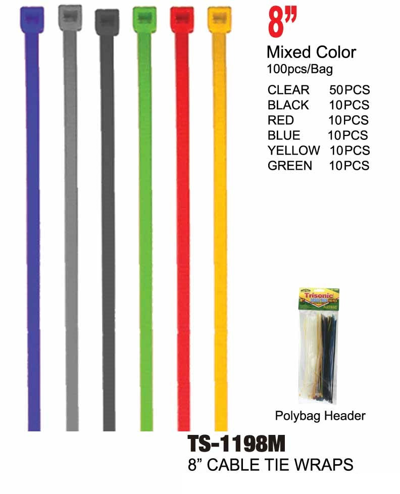 "8"" Multi-Color Cable Ties, 100-ct."