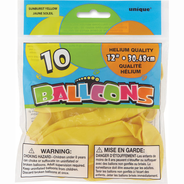 "12"" Helium Balloons Sunburst Yellow, 10-ct."