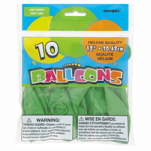 "12"" Helium Balloons Lime Green, 10-ct."