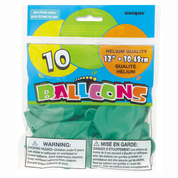 "12"" Helium Balloons Sea Foam Aqua, 10-ct."