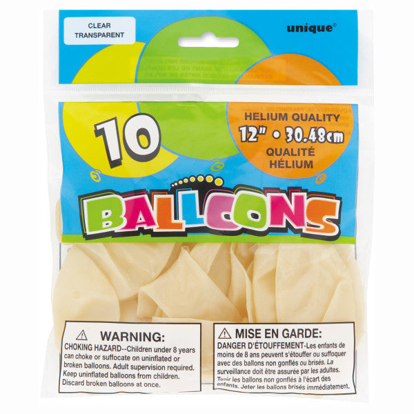 "12"" Helium Balloons Clear White, 10-ct."