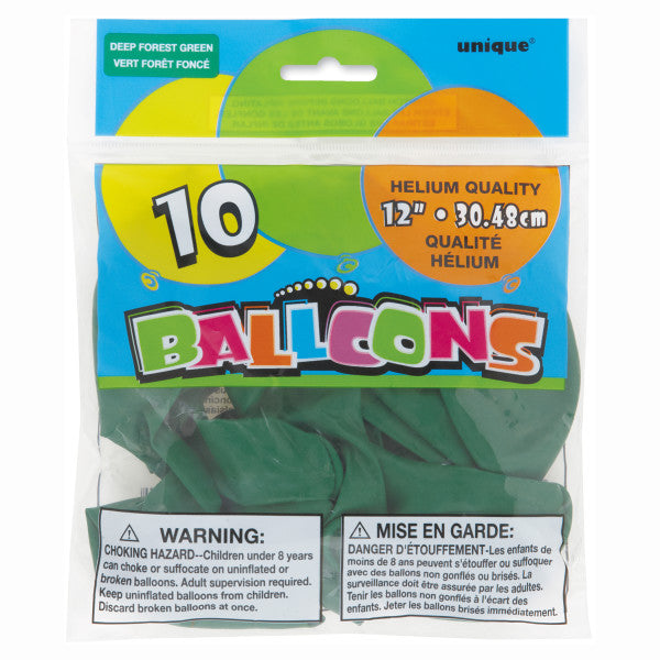 "12"" Helium Balloons Deep Forest Green, 10-ct."