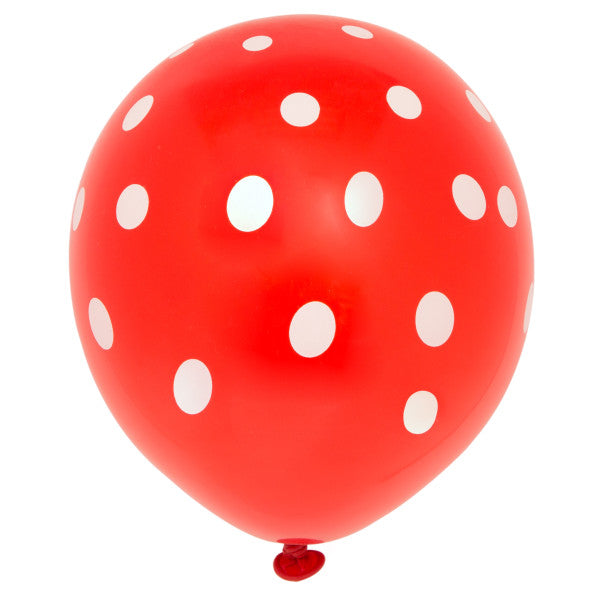 "12"" Helium Balloons Red With Polka Dots, 6-ct."