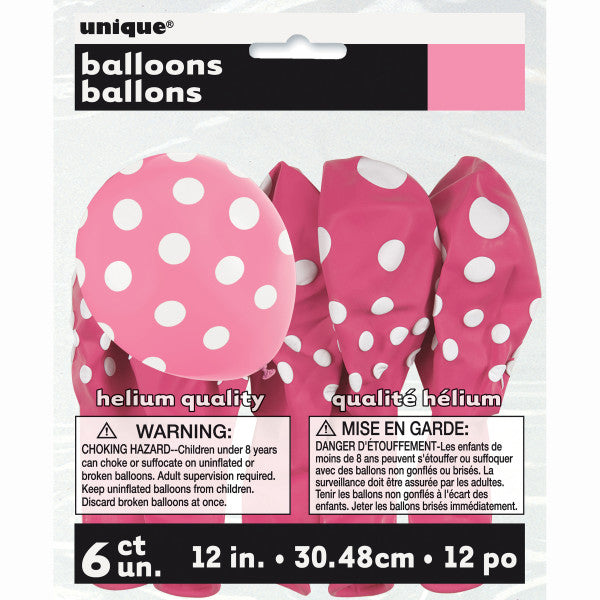 "12"" Helium Balloons Pink With Polka Dots, 6-ct."