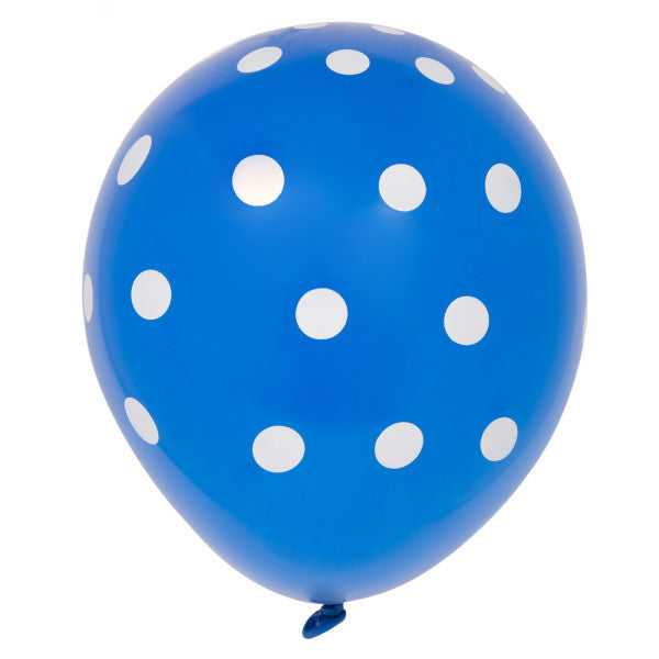 "12"" Helium Balloons Blue With Polka Dots, 6-ct."