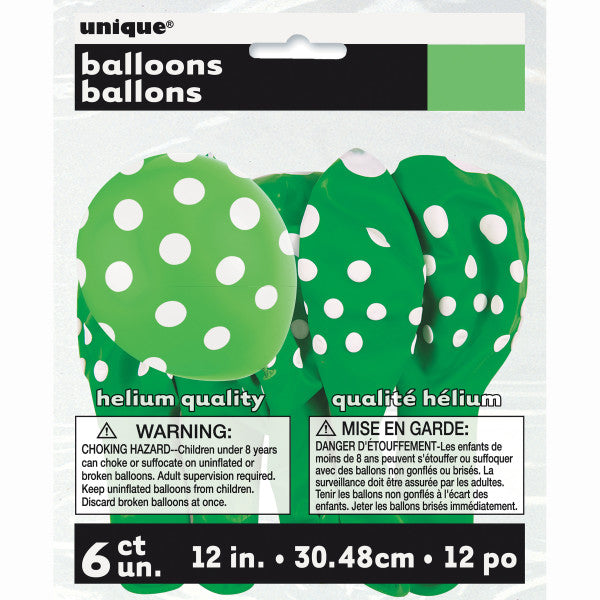 "12"" Helium Balloons Green With Polka Dots, 6-ct."