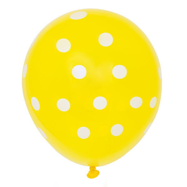 "12"" Helium Balloons Yellow With Polka Dots, 6-ct."