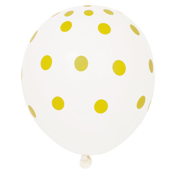 "12"" Helium Balloons White With Gold Polka Dots, 6-ct."