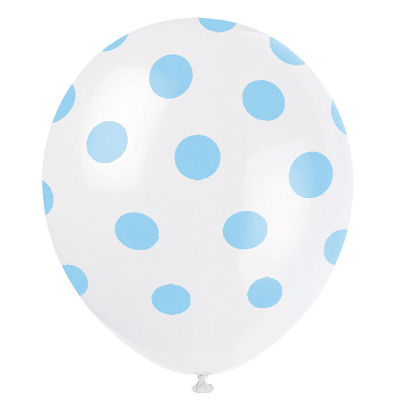 "12"" Helium Balloons White With Blue Polka Dots, 6-ct."