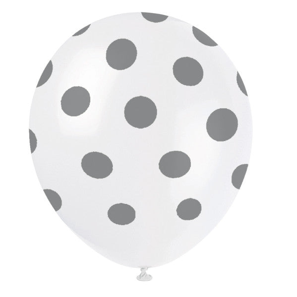 "12"" Helium Balloons White With Silver Polka Dots, 6-ct."