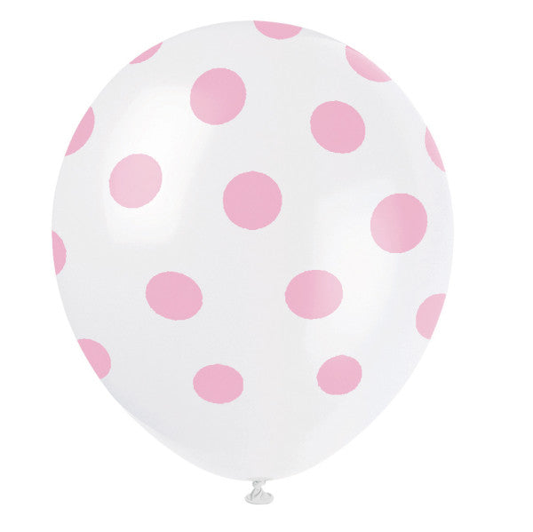 "12"" Helium Balloons White With Pink Polka Dots, 6-ct."