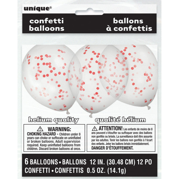 "12"" Helium Confetti Balloons White With Red Confetti, 6-ct."