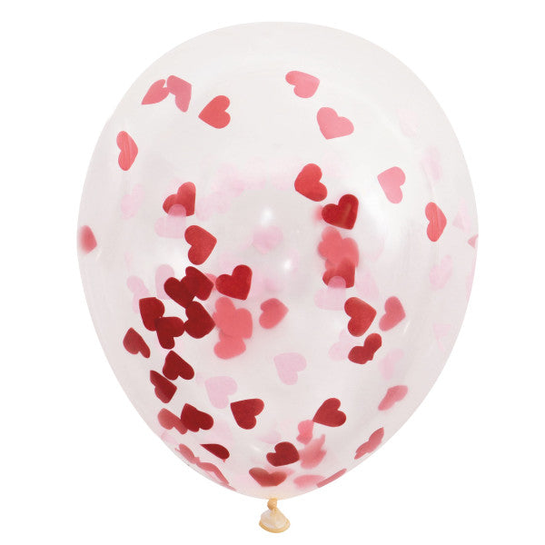 "16"" Helium Confetti Balloons White With Red Hearts Confetti, 5-ct."