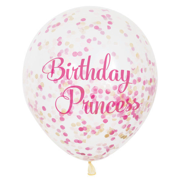 "12"" Helium Birthday Princess Pink Confetti Balloons, 6-ct."