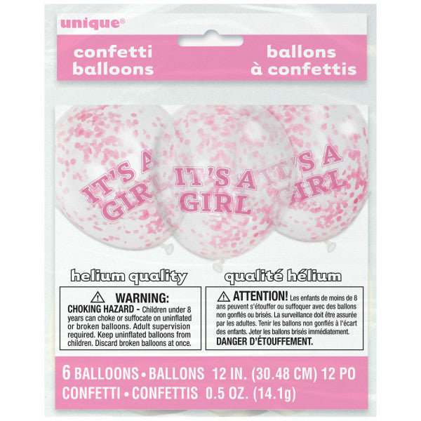 "12"" Helium ""It's A Girl"" Pink Confetti Balloons, 6-ct."