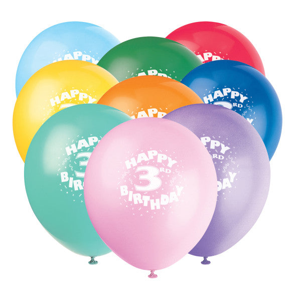 "12"" Helium ""Happy 3rd Birthday"" Balloons Multicolor, 6-ct."