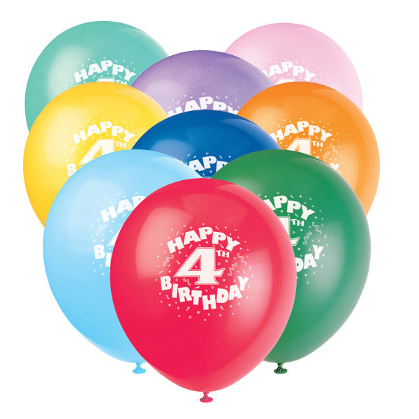 12 Helium Happy 4th Birthday Balloons Multicolor 6 Ct