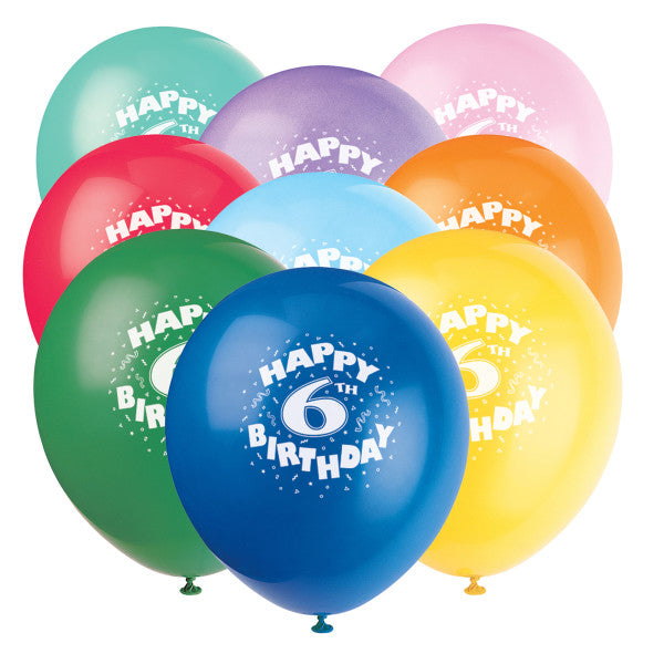 "12"" Helium ""Happy 6th Birthday"" Balloons Multicolor, 6-ct."