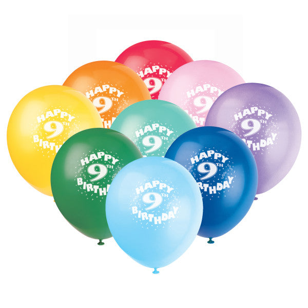 "12"" Helium ""Happy 9th Birthday"" Balloons Multicolor, 6-ct."