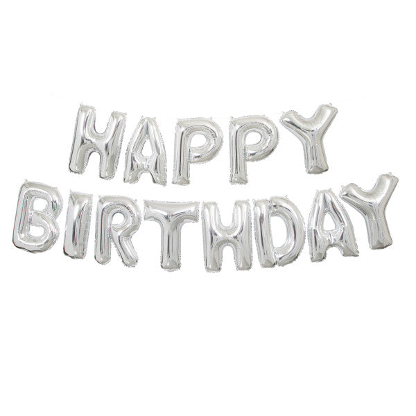Happy Birthday Silver Balloons Banner Kit