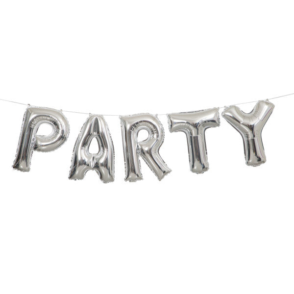 """Party"" Silver Balloons Banner Kit"