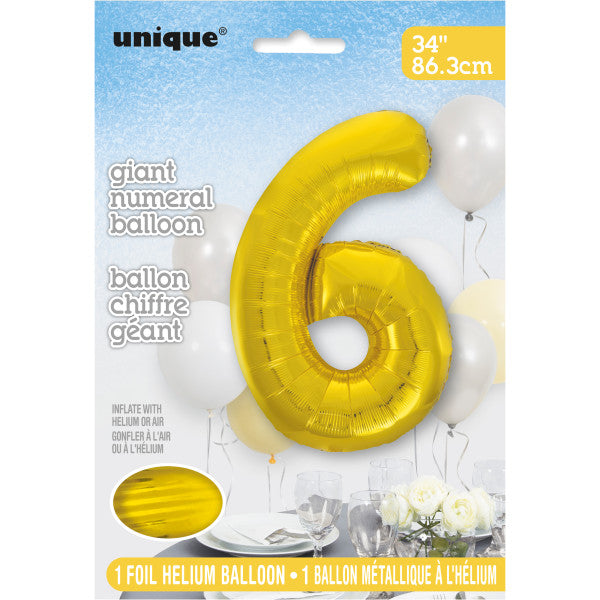 "Giant 34"" Number 6 Gold Foil Helium Balloon"