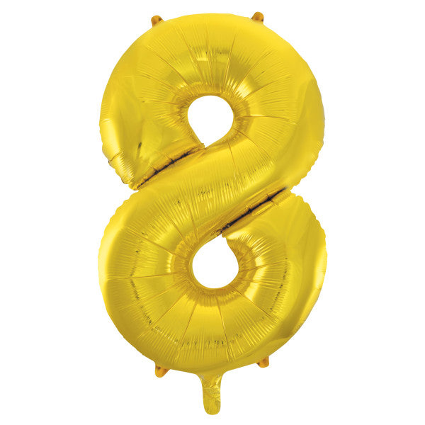 "Giant 34"" Number 8 Gold Foil Helium Balloon"