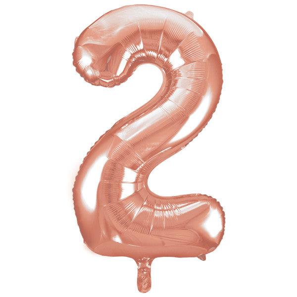 "Giant 34"" Number 2 Rose Gold Pink Foil Helium Balloon"