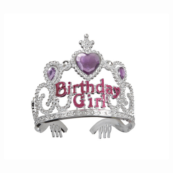 Birthday Girl Crown Tiara With Purple Heart Gem
