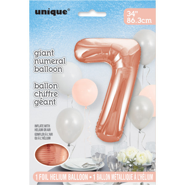 "Giant 34"" Number 7 Rose Gold Pink Foil Helium Balloon"