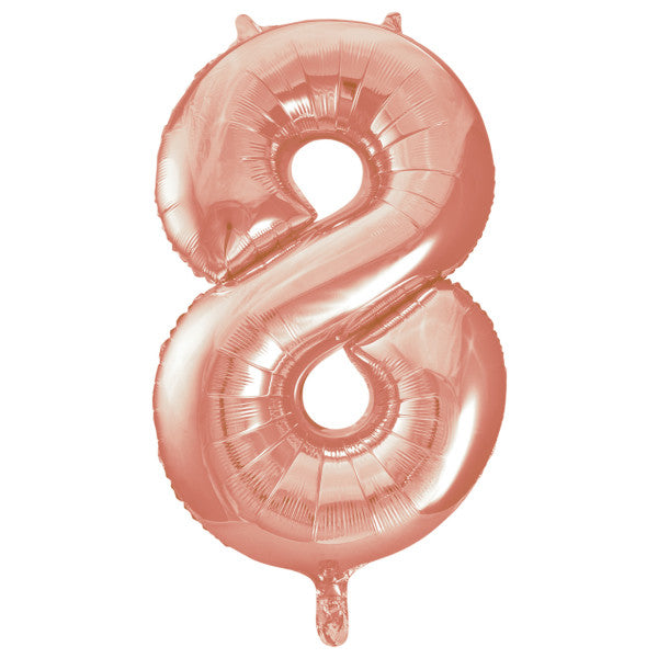"Giant 34"" Number 8 Rose Gold Pink Foil Helium Balloon"