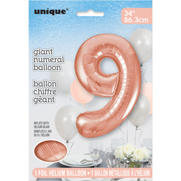 "Giant 34"" Number 9 Rose Gold Pink Foil Helium Balloon"